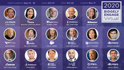 Engage Virtual 2020 is UtilityAI leader Bidgely's fourth annual event where utility leaders, industry influencers and tech experts share their perspective and best practices on applying AI to drive customer experience, grid analytics and utility-wide value. (Graphic: Business Wire)