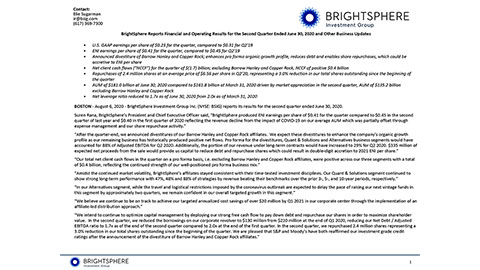 BrightSphere Reports Financial and Operating Results for the Second Quarter