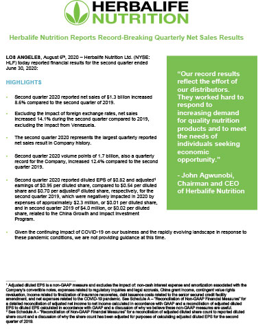 Herbalife Nutrition Second Quarter 2020 Earnings Press Release