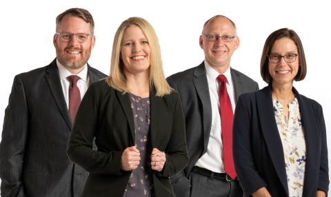 Please join us in welcoming Katie Cownie, Becki Brommel, Michael Jenkins and Adam Freed to Dorsey's Des Moines office. (Photo: Dorsey & Whitney LLP)