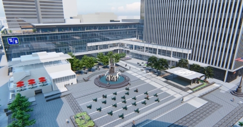A rendering of Fountain Square, Fifth Third Center Stage and Project Connect in Cincinnati, OH (Graphic: Business Wire)