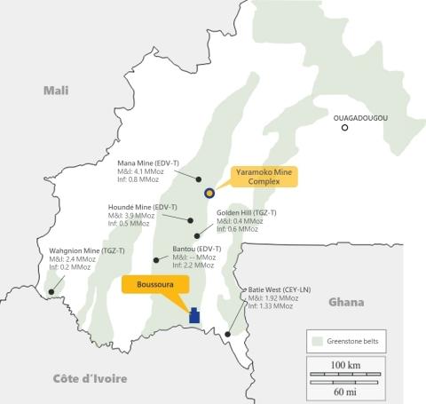 Figure 4:  Boussoura Project Location on Houndé Belt (Graphic: Business Wire)
