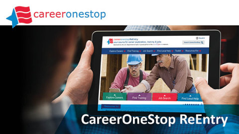 Individual working on the CareerOneStop ReEntry website (Graphic: Business Wire)