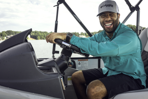 Bubba Wallace sporting Columbia PFG gear as he enjoys time on the water. (Photo: Business Wire)