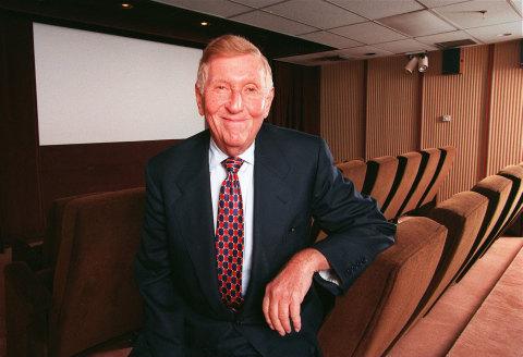 Sumner Redstone in screening room at National Amusements (Credit: John Blanding/The Boston Globe via Getty Images)