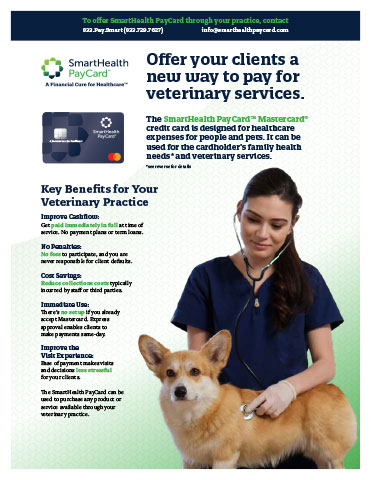SmartHealth PayCard™ helps improve veterinary practices' client experience while increasing cash flow and lowering administrative costs.