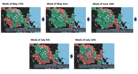 Risk maps used by health officials in the City of Valencia on SARS-COV-2 concentration in the sewer (Graphic: Business Wire)