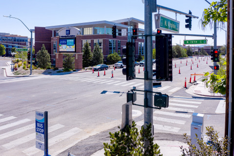 The University of Nevada, Reno's Nevada Center for Applied Research has placed Velodyne's lidar sensors at crossing signs and intersections in the city of Reno, Nevada to help improve traffic analytics, congestion management and pedestrian safety. (Photo: Velodyne Lidar, Inc.)
