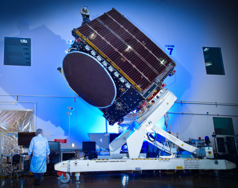 BSAT-4b, built by Maxar Technologies for Broadcasting Satellite System Corporation (B-SAT), is seen here in Maxar's manufacturing facility in Palo Alto, Calif. Image credit: Maxar Technologies
