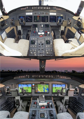 Bombardier Challenger 604 cockpit before and after installation of the Collins Aerospace Pro Line Fusion® flight deck by Constant Aviation. This package is now validated by Transport Canada for installation in Canadian-registered Challenger 604 aircraft. (Photo: Business Wire)
