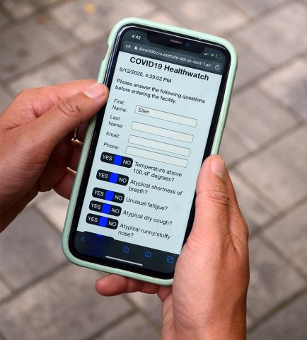 Symptom questionnaire is automatically texted to participants' cell phone (Photo: Business Wire)