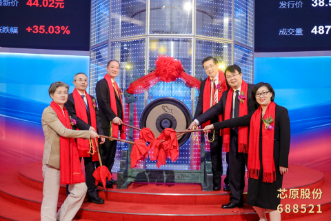 Dr. Dai Weimin (top right), Chairman and President of VeriSilicon, Guan Xiaojun (right middle), Deputy District Mayor of Pudong New Area, attended the VeriSilicon IPO ceremony (Photo: Business Wire)