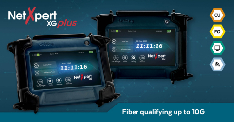 All-in-one NetXpert XG cable qualifier now includes fiber microscope end face inspection, fiber length and loss, and a Softing exclusive - LiveLight™ (Photo: Business Wire)