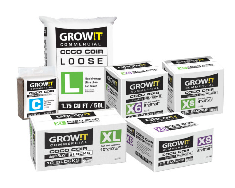 GROW!T Commercial Coco is Hydrofarm's premium growing media brand, designed specifically for the professional grower to deliver higher yields and plant quality. (Photo: Business Wire)