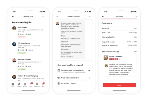 Yelp's Nearby Jobs is a new paid product that gives professionals an effective way to proactively grow their business and get in front of more people looking to hire pros like them. (Graphic: Business Wire)