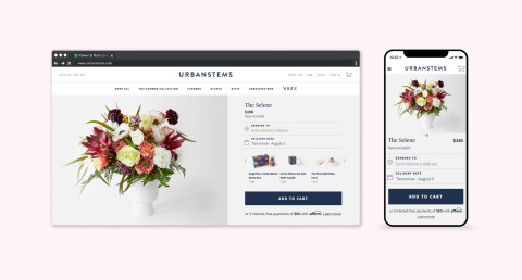 UrbanStems now offers Affirm as payment option at checkout (Graphic: Business Wire)