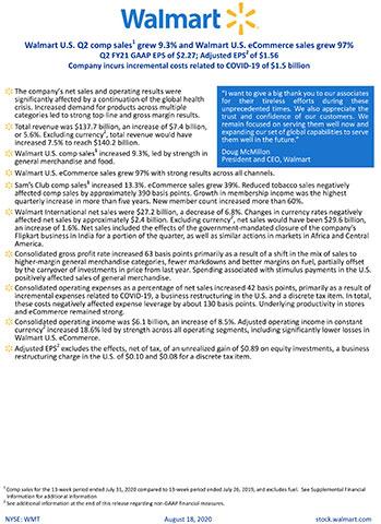 Walmart reports Q2 FY21 earnings