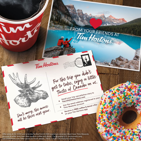 Summer 2020 travel plans cancelled? Tim Hortons® U.S. Will Give You a Free Taste of Canada's Favorite Coffee and Donuts. (Photo: Business Wire)