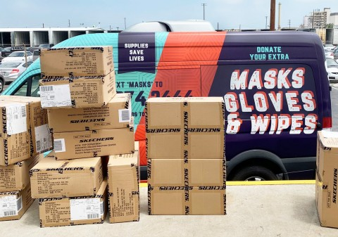 Skechers face masks were distributed through United Way of Greater Los Angeles to Supplies Save Lives in July. Masks provided to first responders and homeless in Los Angeles were among the million in total donated by Skechers to communities in need across the United States. (Photo: Business Wire)