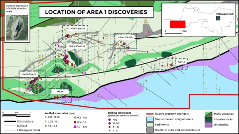 Location of Area 1 discoveries and base of till (BoT) drilling (Photo: Business Wire)