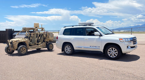 Kymeta's u8 flat-panel satellite antenna can be installed on top of a military-style off-road vehicle or a Land Cruiser. (Photo: Business Wire)