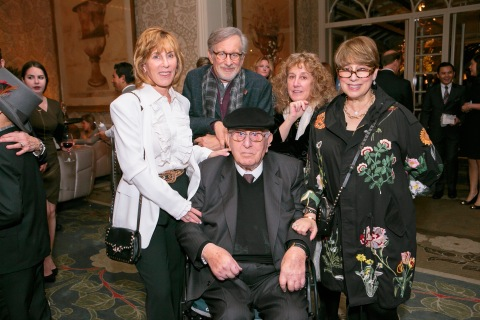 Arnold Spielberg is surrounded by his children, Nancy Spielberg, Steven Spielberg, Anne Spielberg and Sue Spielberg, at the celebration of his 100th birthday in 2017. (Photo: Business Wire)