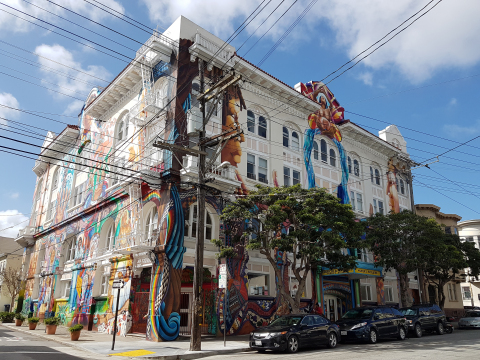 The Women's Building, San Francisco, CA. Benjamin Moore will work alongside the National Trust to enhance the grand staircase that showcases the building's colorful mural as it makes its way from outside, into the heart of the building. (Photo: Business Wire)