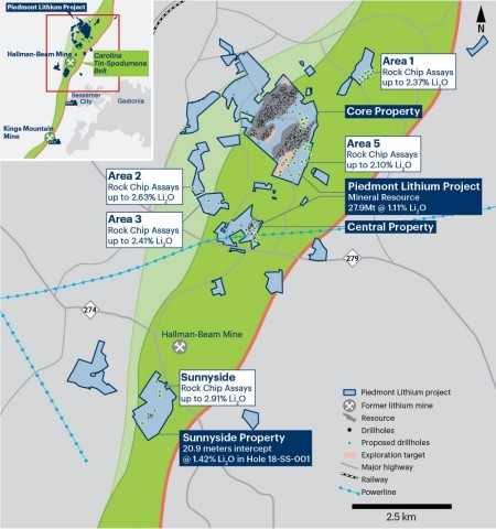 Figure 1 – Piedmont Lithium Project Property Map Showing Mineral Resources, Exploration Targets and Proposed Drillholes (Photo: Business Wire)