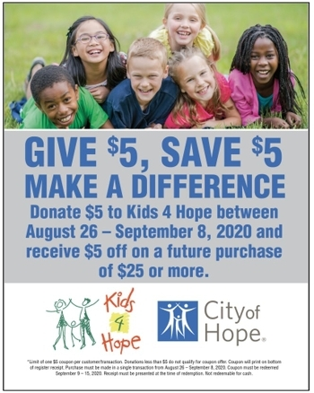 Smart & Final announces its annual Kids 4 Hope campaign to benefit City of Hope August 26 through September 8. (Graphic: Business Wire)