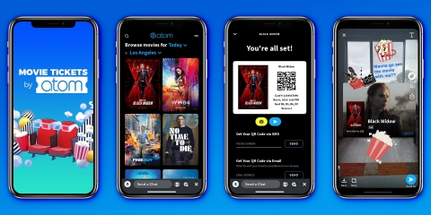 Atom Tickets, the social movie ticketing app, announces the launch of Movie Tickets By Atom, a branded third-party experience within Snapchat. The Snap Mini experience is now available to millions of Snapchatters interested in watching movie trailers, buying movie tickets and sharing movie plans with friends all without leaving Snapchat. (Photo: Business Wire)