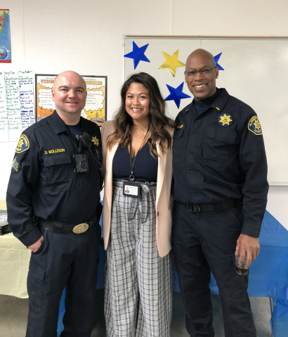 Sergeant Daniel Molleson, director of Inmate Services at Santa Rita Jail; Lillian Santos-Stables, principal at Five Keys; and Alameda County Sheriff's Lieutenant John Johnson (Photo: Business Wire)