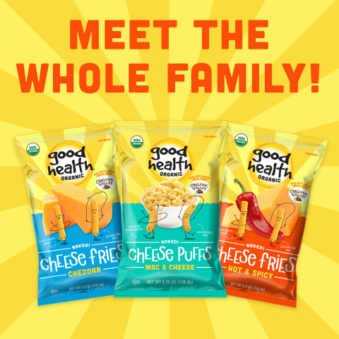 NEW!  Good Health® Organic Snacks Include: Mac & Cheese Puffs, Cheddar and Hot & Spicy Fries (Source: Utz)