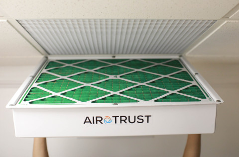 One of several Airotrust filters with the branded housing (Photo: Business Wire)
