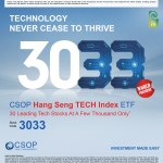 CSOP to Bring CSOP Hang Seng TECH Index ETF (Stock Ticker:3033.HK) to List on the HKEX