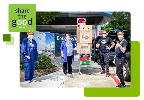 In lieu of recent grand openings, Regions supported restaurants and health care workers by providing meals for medical personnel at hospitals near newly opened Regions branches in Houston, Atlanta and Nashville. Similar meal deliveries will be part of this year's Share the Good program. (Photo: Business Wire)