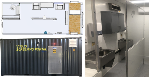 The Virus Screening Portal from DRYAIR can be utilized on any site where visitors or workers need to be screened for Covid-19 prior to entering a facility. (Photo: Business Wire)