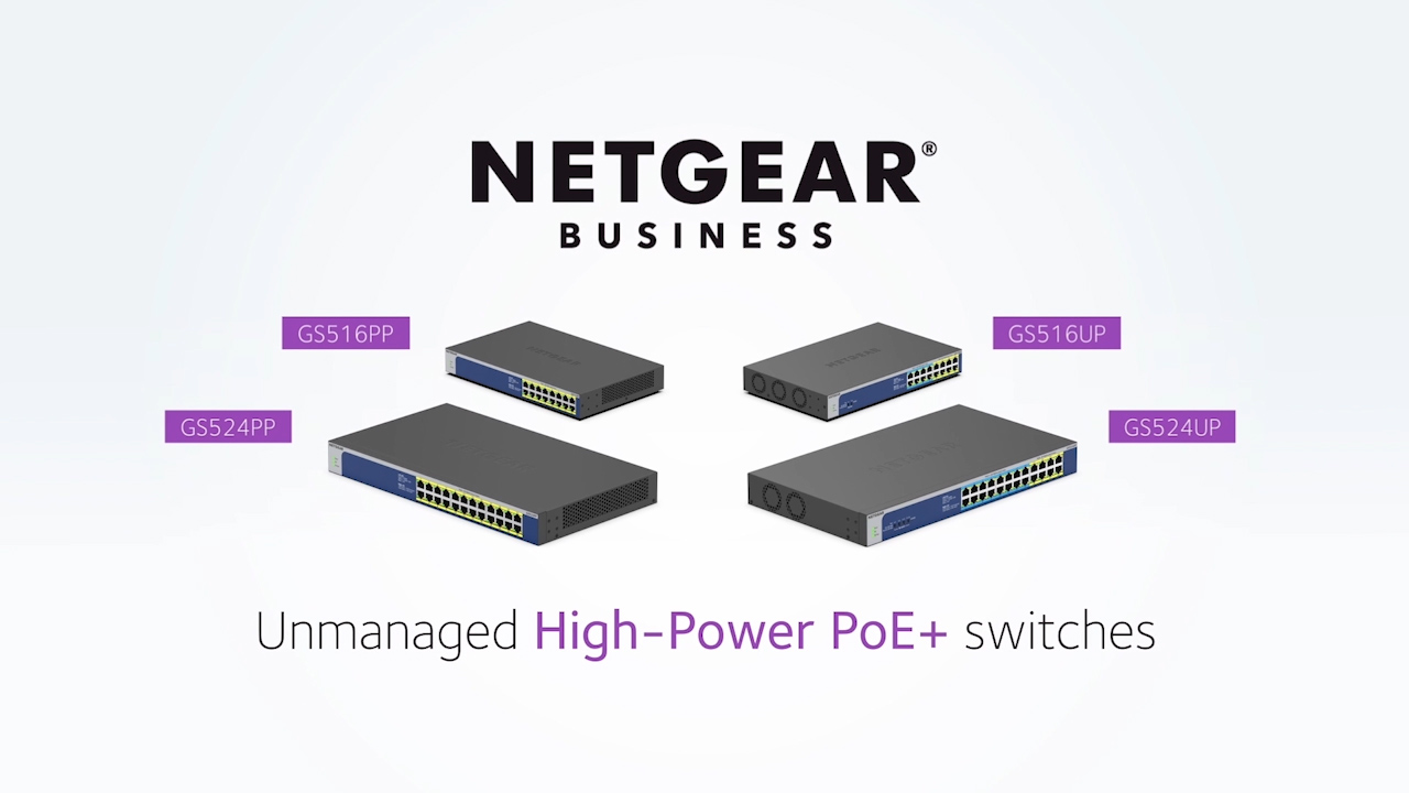 Introducing the new NETGEAR Gigabit Ethernet High-Power PoE+ Unmanaged Switches (GS516PP, GS524PP, GS516UP and GS524UP) – two 16-port and two 24-port models – which provide the flexibility of rack-mounted or desktop installation and an industry-first PoE mode selector on select models.