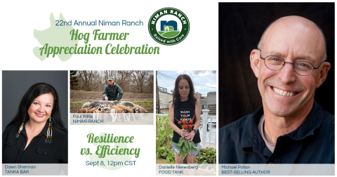 Celebrated author Michael Pollan will be discussing how we can build a more resilient food and farming system, as part of Niman Ranch's Hog Farmer Appreciation Celebration lecture series. (Photo: Business Wire)