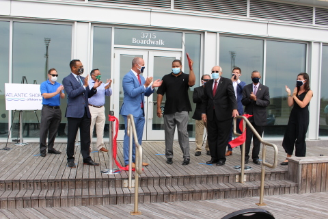 """""""Atlantic City Mayor Marty Small, New Jersey Board of Public Utilities President Joseph Fiordaliso, Atlantic Shores Managing Director Christopher Hart, and others attend Atlantic Shores Offshore Wind's ECO Center Opening."""" - photo Stockton University"""