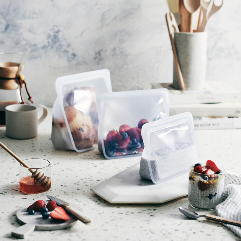 Stasher, the radically functional and endlessly reusable silicone bag that changes the way that people cook, store and save, has added two new sizes to its Stand-Up collection - the Stasher Stand-Up Mega and Mini. (Photo: Stasher)