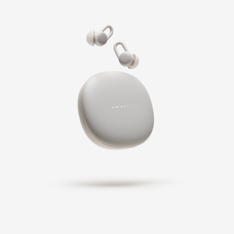 Now available to U.S. consumers, the feather-light Amazfit ZenBuds help users get a good night's rest with noise-blocking design, soothing sounds, and sleep monitoring. (Photo: Business Wire)