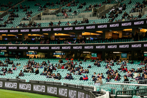 LED logos surround the stadium as socially distanced spectators root on the Roosters. (Photo: Business Wire)