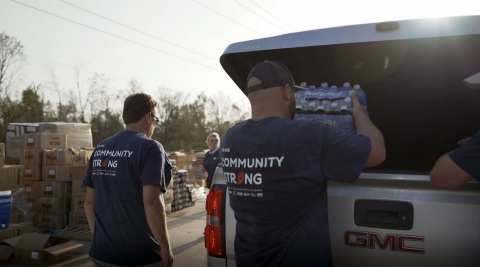 Team members loading emergency supplies to be donated. (Photo: Business Wire)