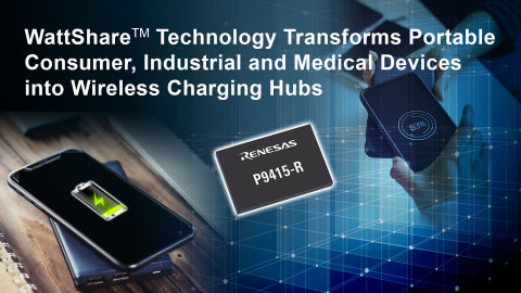 Wattshare(TM) Technology Transforms Portable Consumer, Industrial and Medical Devices into Wireless Charging Hubs (Graphic: Business Wire)