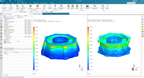 Simulation designed by Sintavia of an aerospace nozzle guide vane ring, both with and without supports, using Siemens Xcelerator™ simulation software. (Photo: Business Wire)