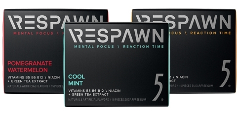 RESPAWN by 5 gum is available in three flavors: Cool Mint, Pomegranate Watermelon and Tropical Punch. (Photo: Business Wire)