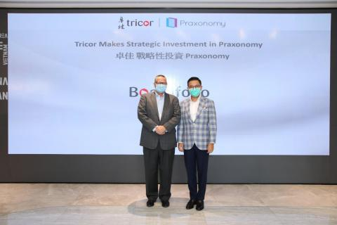 Mr. Joe Wan, CEO of Tricor Hong Kong (right) hosted signing ceremony with Mr. Jay Shaw, Founder & CEO of Praxonomy (left). (Photo: Business Wire)