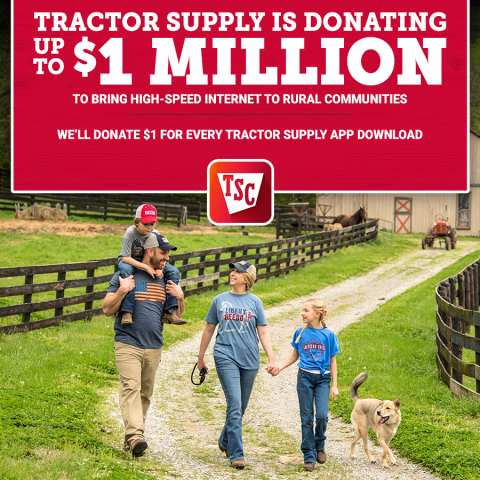Tractor Supply is donating up to $1 million to bring high-speed internet to rural communities. Through the Tractor Supply Company Foundation, the Company is donating $1 for every Tractor Supply app download to the efforts of the American Connection Project to close the digital divide. (Photo: Business Wire)