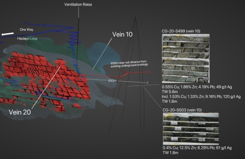 Figure 2. Location of Step-Out Holes S499 and S503 Relative to Current Resource of Vein 10 and Vein 20 of Cozamin's MNFWZ. Results from five step-out drill holes released today demonstrate the expansion potential to the southeast, both within and external to the last Mineral Resource estimate. Indicated Mineral Resources are shown in pale green. Inferred Mineral Resources are shown in light blue. Mineral Reserves are shown in red. Pillars left unmined in the updated LOMP, comprising Indicated Mineral Resources, are illustrated in black. (Photo: Business Wire)
