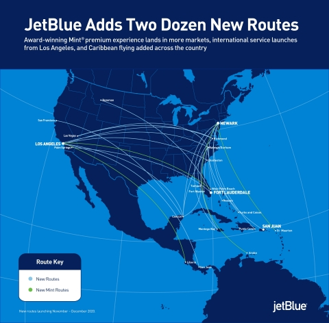JetBlue Adds Two Dozen New Routes in Markets with Strengthened Demand Potential (Photo: Business Wire)